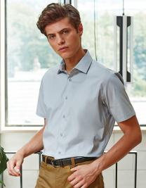 Mens Stretch Fit Poplin Short Sleeve Cotton Shirt