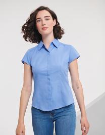Ladies` Cap Sleeve Fitted Polycotton Poplin Shirt